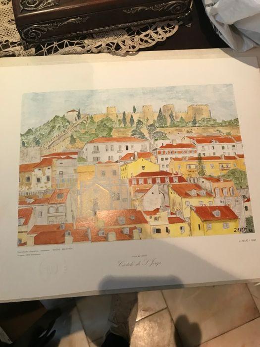 Litografia Vista de Lisboa do Castelo São Jorge