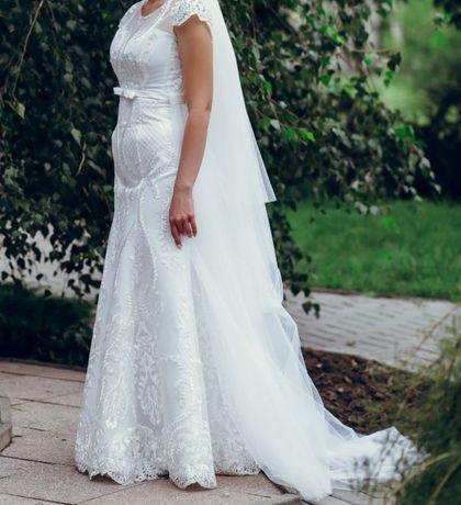 Элегантное свадебное кружевное платье русалка