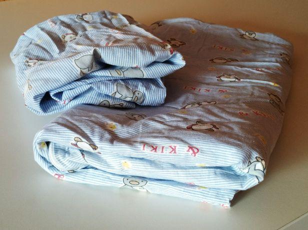 Комплект постельного белья в кроватку простынь на резинке пододеяльник
