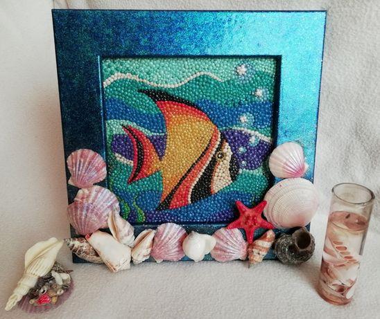 Морской набор (картина+свеча+статуэтка)