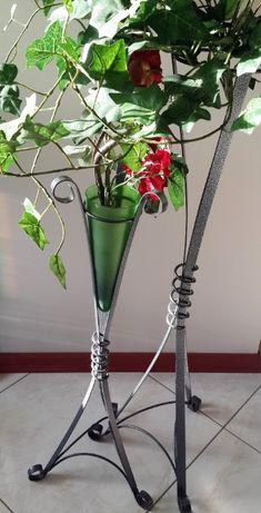 Stojaki metalowe dla kwiatów dekoracyjne nakrapiane ZESTAW 2 sztuki