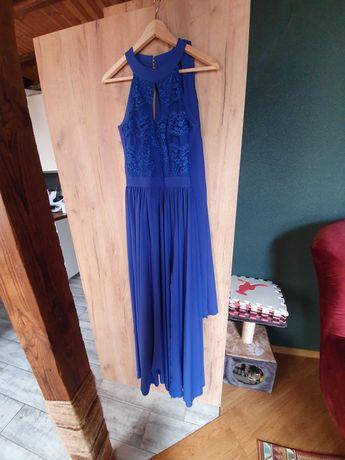 Suknia wieczorowa długa maxi chabrowa 36