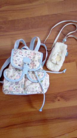 Mały plecak plecaczek SOWY + etui pluszowe
