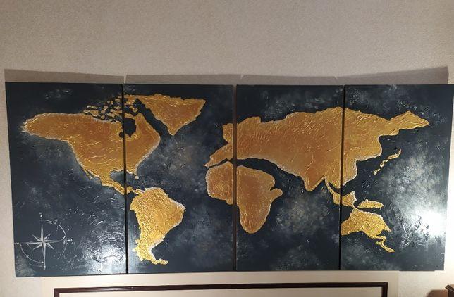 Карта Мира 2 м х 90 см РУЧНАЯ РАБОТА