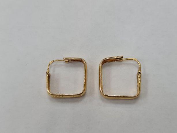 Piękne złote kolczyki damskie/ 585/ 4.26 gram/ Kwadrat/ sklep Gdynia
