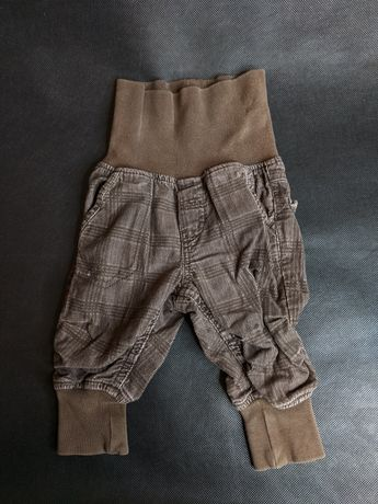 Sztruksowe spodnie r. 62 H&M, wysoki stan