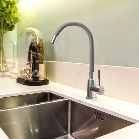 Смеситель для кухни с изогнутым изливом Venta VA3009-grey