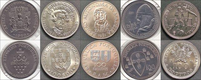 34 moedas de 100$00 - Portugal - 1980 a 2001