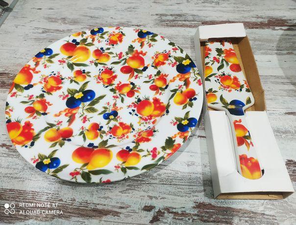 Продам блюдо(тарілка) для торта з лопаткою