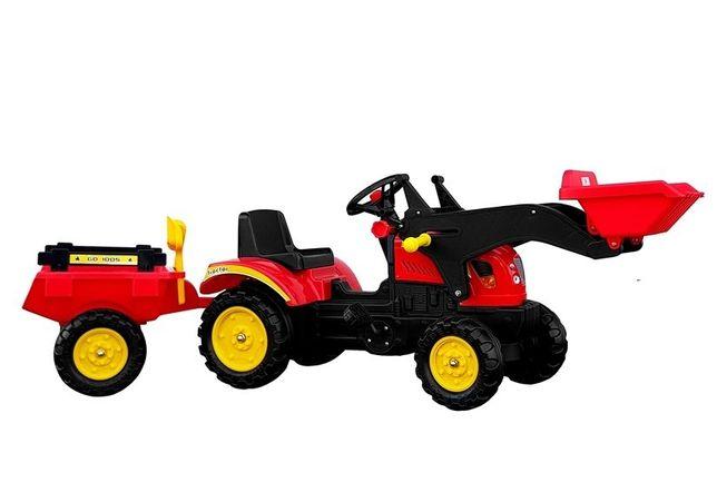 Duży Traktor Koparka NA PEDAŁY Z ŁYŻKĄ PRZYCZEPĄ # Nowe !