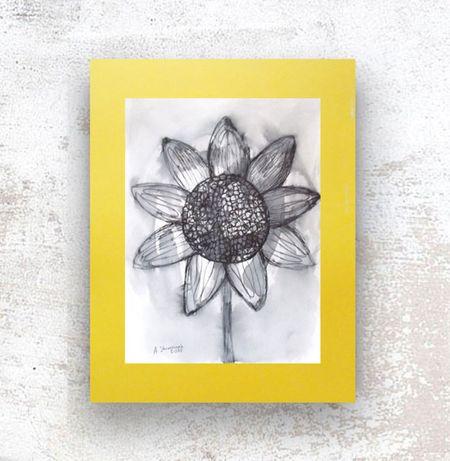 szaro żółta grafika na ścianę, skandynawski rysunek do biura, szkic