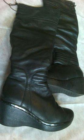 Зимние кожаные сапоги на цигейке, женские