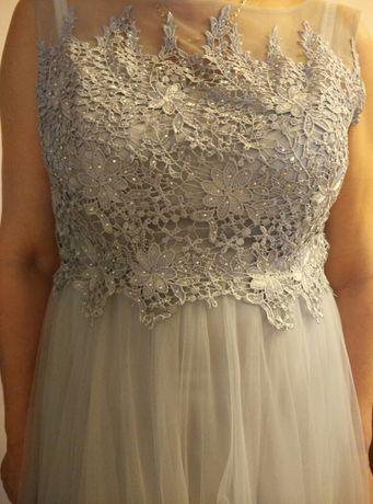 Długa sukienka grafitowa,rozmiar M lub L,na wesele, studniówka