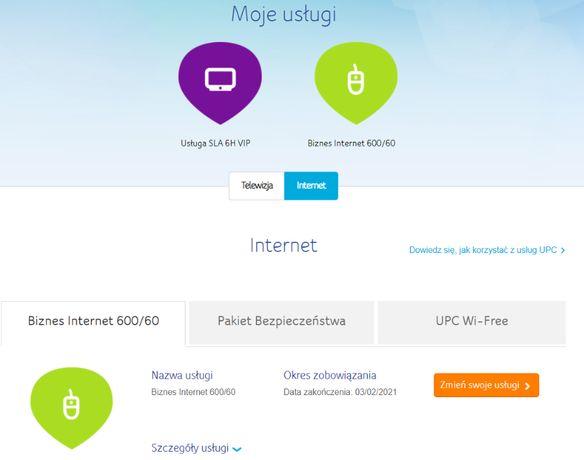 Cesja UPC Biznes Internet 600/60 Mb/s, umowa do 03/02/2021, 3 m GRATIS