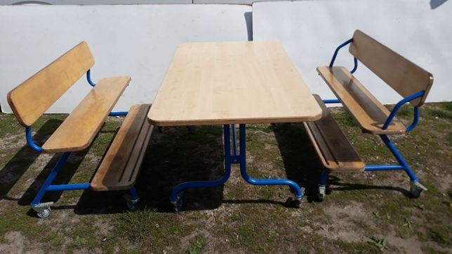 Stół + ławki komplet mobilny