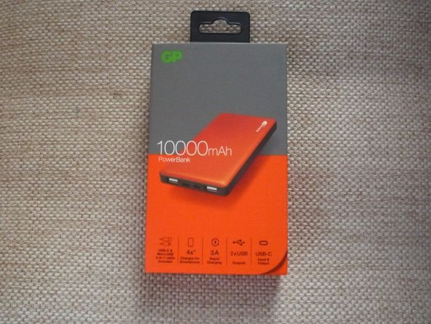 Powerbank GP 10000MAH Pomarańczowy Nowy 2xUSB 2,4A USB-C 3A