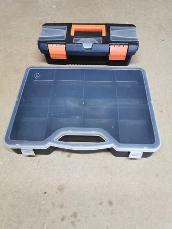 1 mala de ferramentas e uma caixa de parafusos
