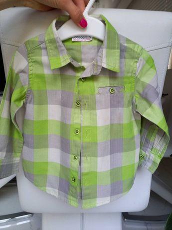 Koszula w kratę w kratkę zielona Coccodrillo r.80