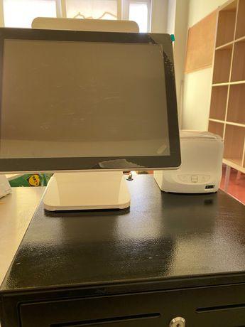 Computador POS duplo ecrã + gaveta e impressora térmica