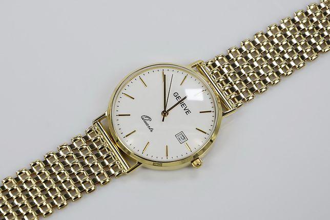 Złoty zegarek męski 14k włoski Geneve mw006ydw&wb004y G