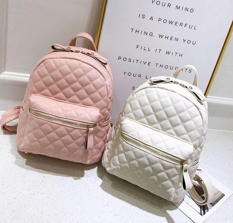Большой стеганный женский городской рюкзак качественный розовый черный