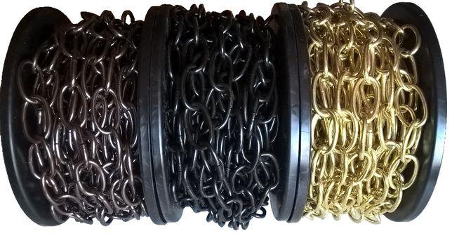 Łańcuch 2,8 dekoracyjny ozdobny złoty czarny rolka 30m