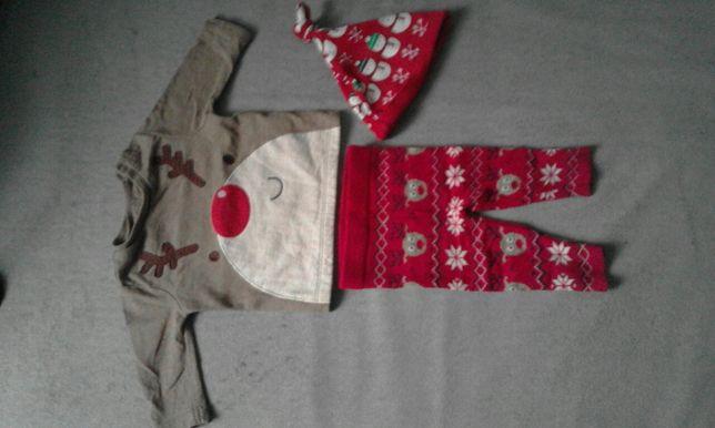 zestaw świąteczny renifer getry bluzka czapka r 56