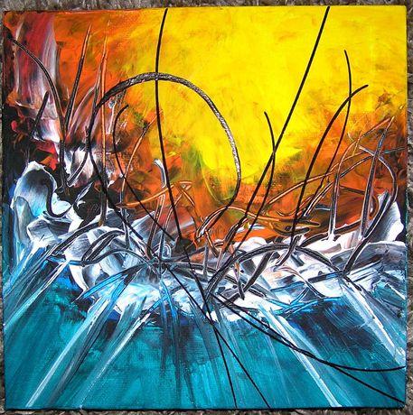 ART-VITO Barysta obraz malowany ręcznie 20 cm x 20 cm