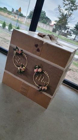 Skrzynia pudło na balony z helem ślub wesele