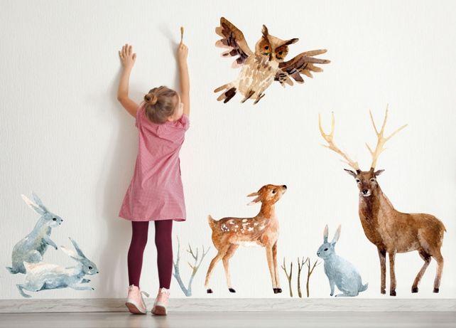 Naklejka na ścianę dla dzieci LEŚNE ZWIERZĘTA BOHO