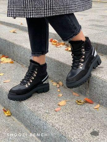 Ботинки женские кожаные демисезонные Shoozi bench Light черные