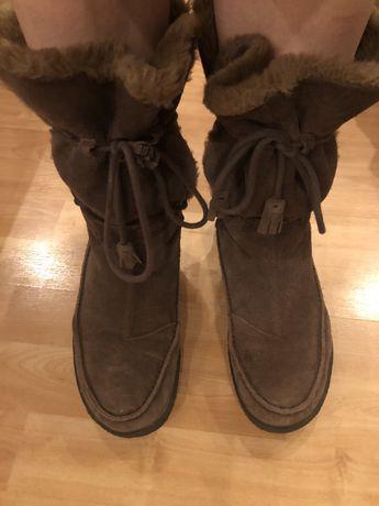 Сапоги ботинки зимние мех замшевые 38,5 р.