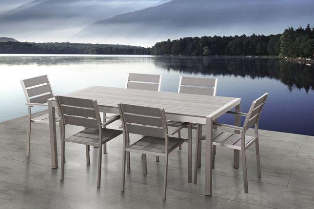 Conjunto de 6 cadeiras de jardim em alumínio e madeira sintética cinzenta VERNIO - Beliani