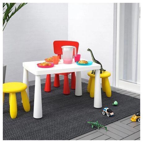 Бесплатная доставка Стол + стульчик Ikea Mammut белый, красный