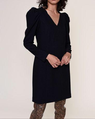 Nowa czarna sukienka długie bufiaste rękawy bufki dekolt V j cos zara