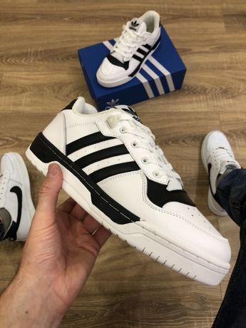 Кроссовки Adidas rivalry low (бело-черные)