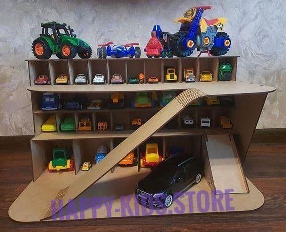 Детский паркинг-гараж, Гараж для машинок, Деревянная парковка