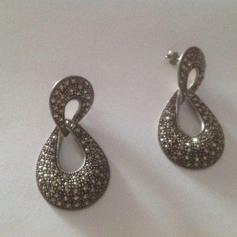 Серебро серебрянные серьги марказит 925