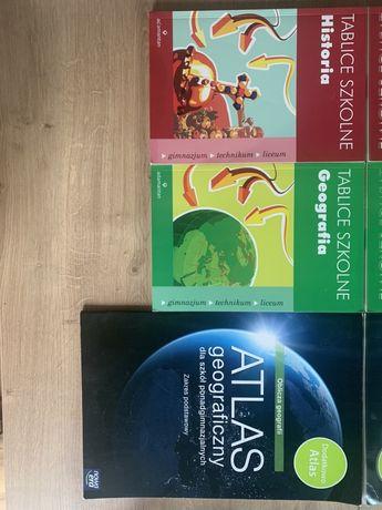 Tablice szkolne geografia i historia+atlas geograficzny