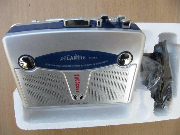 Кассетный плеер Atlantic AT-764 в коллекцию,запись,FM,автореверс,новый
