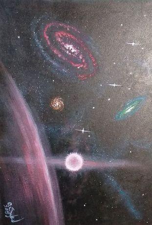 Obraz akrylowy, galaktyki na tablicy malarskiej 50x70 cm.