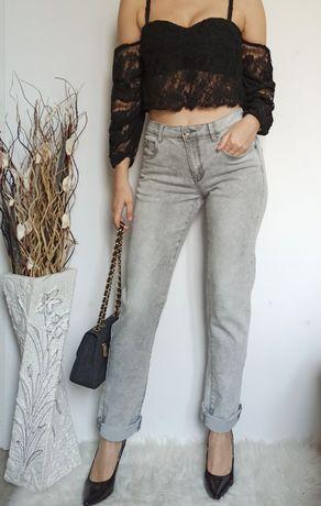 Szare elastyczne dżinsy M/L