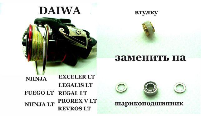 Подшипник и шайбы для замены втулки в ролик лескоукладывателя Daiwa