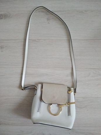 Biało-zamszowa włoska skórzana torebka made in italy