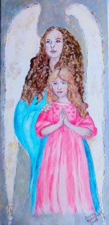 """Obraz ręcznie malowany """"Anioł Stróż dla dziewczynki"""""""