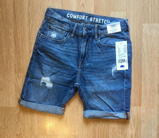 Джинсовые шорты для мальчика H&M, размер 10-11 л, 140-146.