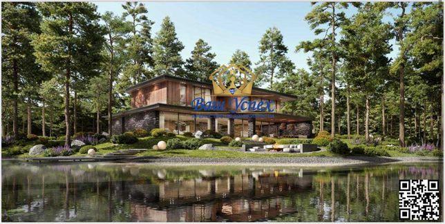 Продажа современного дома в коттеджном городке в лесу.Выход на озеро.