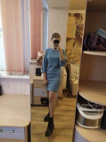 Платье трикотажное голубое тёплое