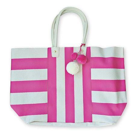 DUŻA Torba PLAŻOWA Shopper Bag z pomponami RÓŻOWA