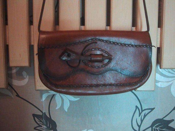 Mała exkluzywna torebka brąz 100% gruba skóra.Na ramię.25x15,5.Wysyłka